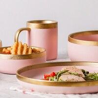 Sakura Pink Gold Rim Ceramic Steak Plate Rice Soup Bowl Dinner Plate Senior Household Restaurant Party Ware Tableware Suit