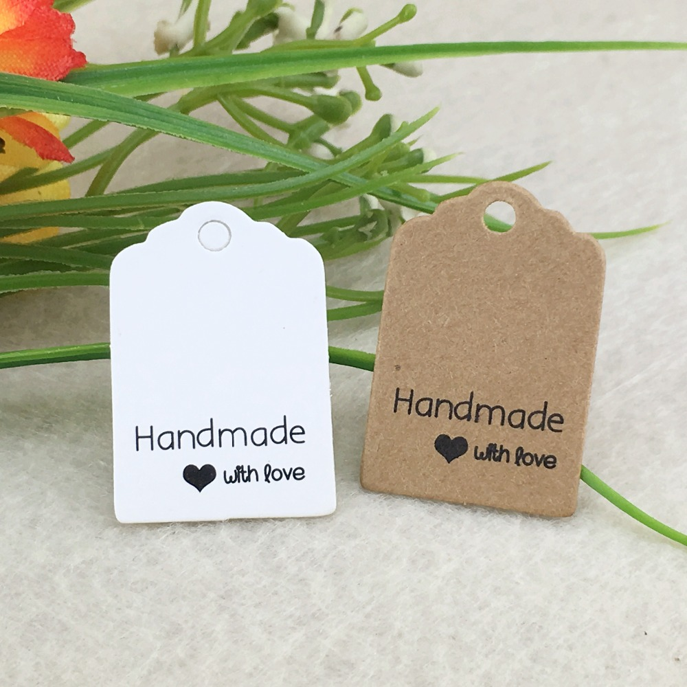 100pcs Kraft Hang Tags Handmade With Love Tags/DIY Gift Tags Gift Packaging Labels For Crafts/Box/Cake/Jewelry/toys/Cosmetics