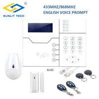Беспроводной TCP IP охранная система GSM для дома безопасности системы английская литература движения PIR сенсор двери, окна магнит сенсор детек