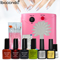 Professional Nail Art Set 8 Colors 10ml UV Gel Kit Base Top Coat Painting Brushes 36W UV Lamp wit False Nail Tips Manicure Tools