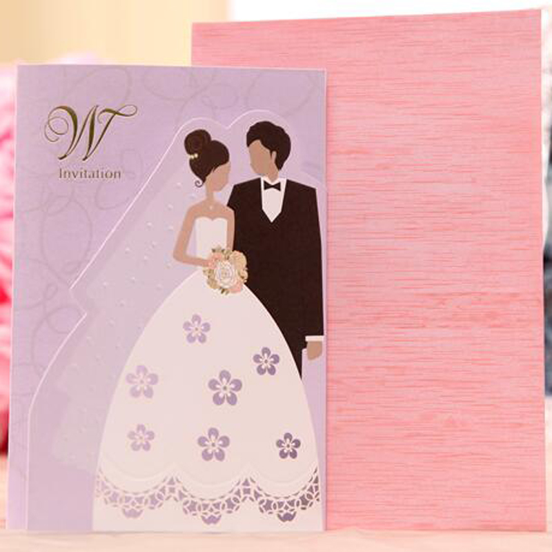 50 Pieces LotCartoon Bride And Groom Wedding Invitations Personalized Customized Printing Violet Invitation Card In Cards From