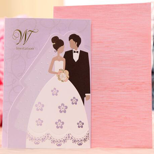 50 pieceslotCartoon Bride and Groom Wedding Invitations
