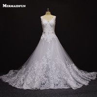 2016 Vestido De Noiva Romantic A Line Lace Wedding Dress With Train Custom Made White Ivory