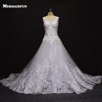 2016 Vestido De Noiva Romantic A Line Lace Wedding Dress With Train Custom Made White Ivory