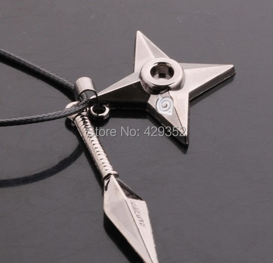 Anime bijoux Naruto Shuriken collier Vintage pendentif collier pour femmes et hommes 10 pièces/lot