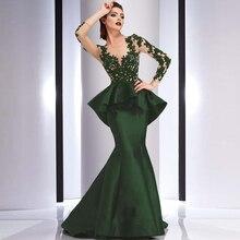 2017 elegante Lange Mutter der Braut Mermaid Abendkleider für Frauen Spitze Applique Partykleider Robe de Soiree kleider