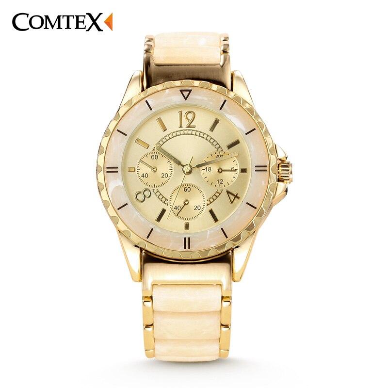 COMTEX Women font b Watches b font 2017 Luxury Brand Design Wristwatch Gold Casual Ceramics font