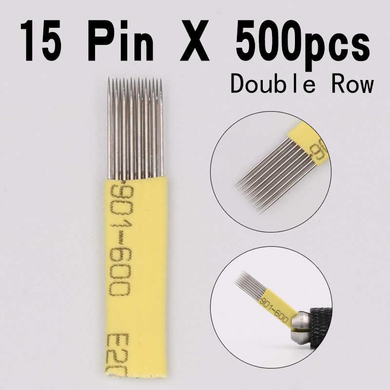 500 piezas 15 Pin doble agujas hoja permanente Eeybrow aguja de tatuaje consejos Manual belleza maquillaje microblading cuchillas niebla ceja