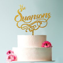 Surname Cake Topper, Mr and Mrs Topper Gold, Wedding Gold Glitter Personalized Toppers
