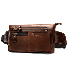 New Arrivals Men Waist Bag Genuine Leather Man Mobile Phone Pocket Male Chest Messenger Hip Bum Pack Travel Pouch