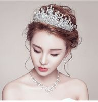 Luxury Silver crystal rhinestones Hair crowns women wedding bridal brides hair accessories TS050 lady proms party Hair Tiaras