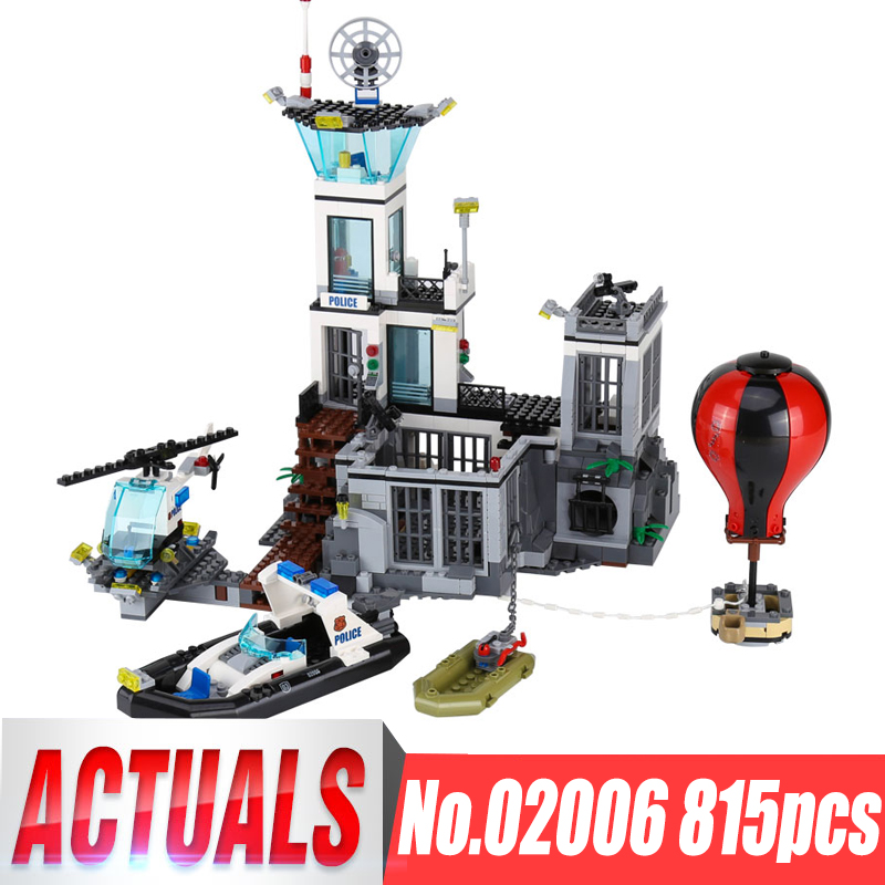 Lepin 02006 Genuine 815Pcs City Series The Prison Island Set Building Blocks Bricks Educational Toys For Kid Gift Legoing 60130 lepin 02006 815pcs city series police sea prison island model building blocks bricks toys for children gift 60130
