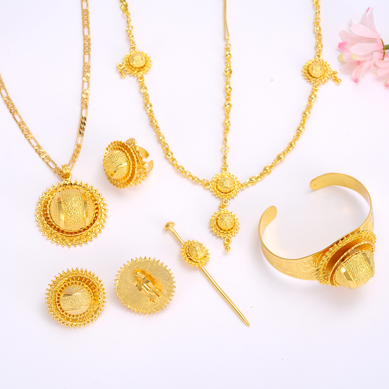 Ethiopian Jewelry set Gold filled Pendant Necklaces/Earrings/Ring/Bangle hairchain African Bridal Habesha women Wedding Gift