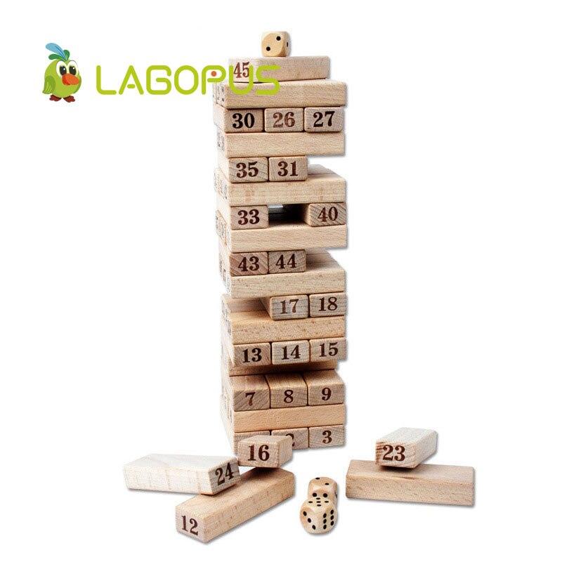 Lagopus 48 pièces Domino numérique Puzzle jouets en bois grand sur couche pile jouets éducatifs pour les enfants - 6