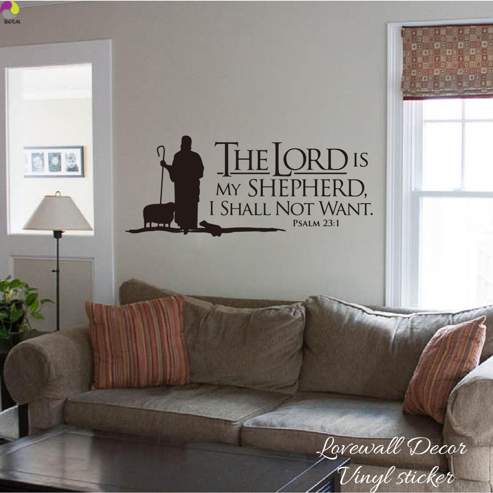 Psalms 23 The LORD is My Shepherd Quote  Wall Sticker Bedroom Sofa Jesus Inspiration Motivational Quote Decal Living Room Vinyl (2)