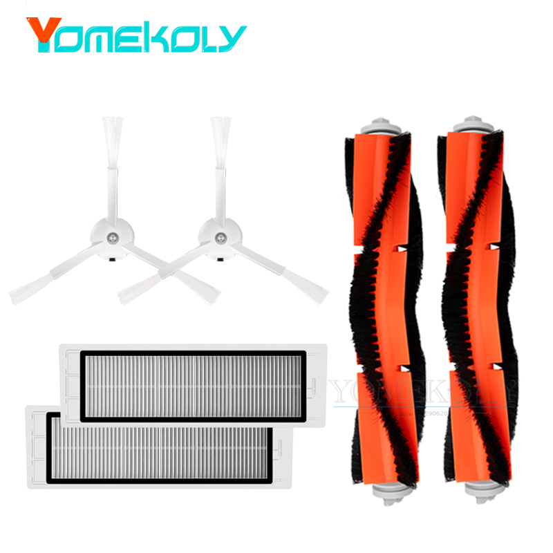 купить Replacement Kits for Xiaomi Mi Robot Roborock Vacuum Cleaner 1/2 2PCS Side Brush 2PCS Hepa Filters 2PCS Main Brush Spare Parts недорого