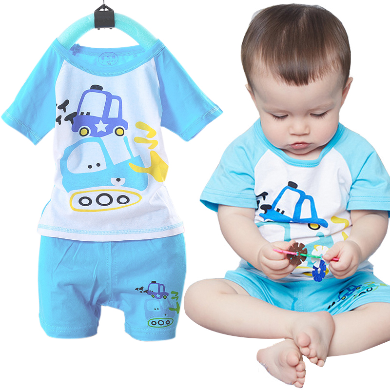 Cotton Summer Cartoon Kids Clothing Sets Toddler Baby Boys Girls Clothes Short Sleeve T-shirt+Pants Infant Children Casual Suits hot sale 2016 kids boys girls summer tops baby t shirts fashion leaf print sleeveless kniting tee baby clothes children t shirt