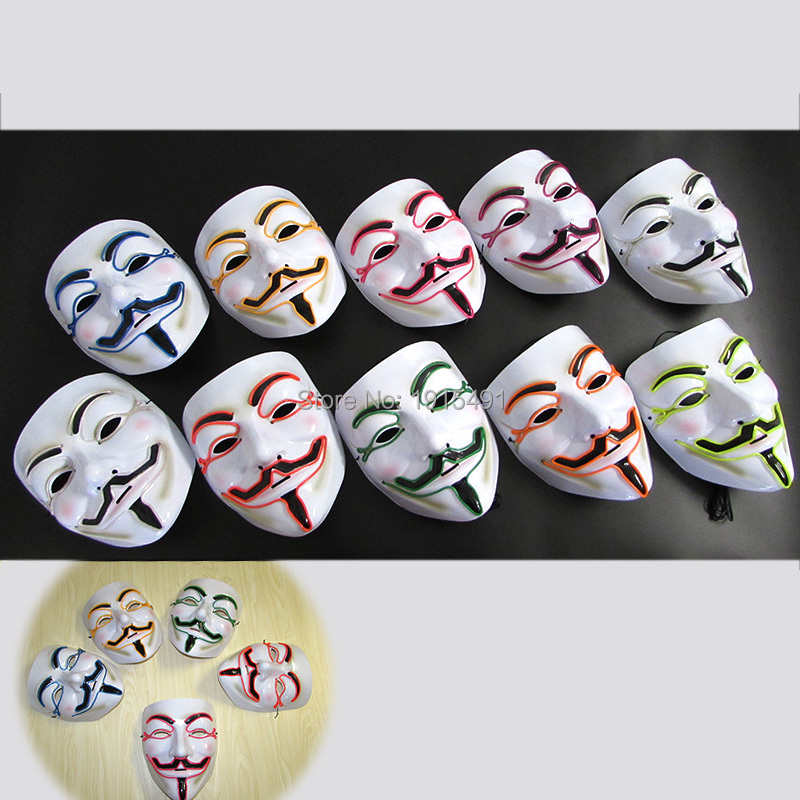 New Arrival 5PCS Halloween Decor Neon Glowing V-Vendetta Mask Novelty Lighting EL wire Colorful Mask for Carnival, Drama Party v for vendetta anonymous guy fawkes resin mask white