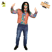 Popular Men S Hippie 60s 70s 3D Digital Printing T Shirt Long Sleeve Multicolor Stripe Fancy