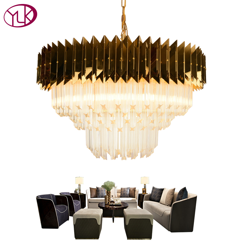 Youlaike Luxury Modern Chandelier Lighting Gold Polished Steel Hanging Lighting Fixtures Home Decoration LED Crystal Lamp кольца гимнастические крепыш