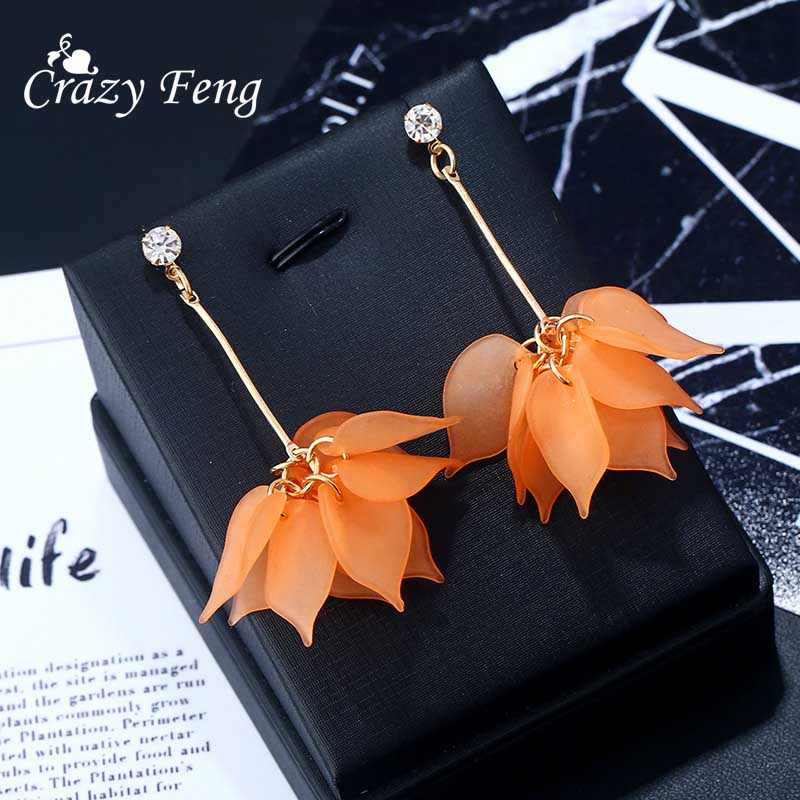 1 Pair Newest Lady Colorful Elegant Women Crystal Flower Colorful Drop Long Dangle Wedding Earrings Jewelry Nice Best Gift