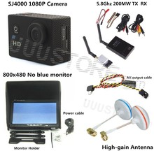 RC FPV Combo System 5.8Ghz 200mw transmitter receiver No blue monitor SJ4000 Camera for walkera CX20 DJI Phantom QAV250 F450 3KM