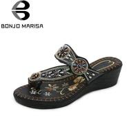 BONJOMARISA 2018 Ethnic Style Plus Size 35 42 Wedge Heels Slip On Women Shoes Woman Fashion