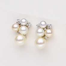 925 silver real natural big The new 925 Sterling Silver 8 round strong natural pearl earrings are genuine white ear jewelry