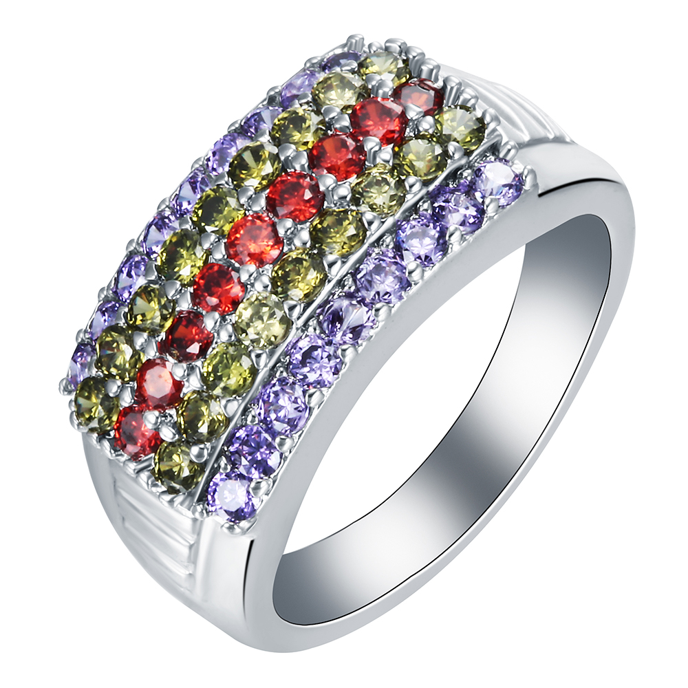 Fashion Jewelry Luxury Colorful Cubic Zircon Ring Unique ...