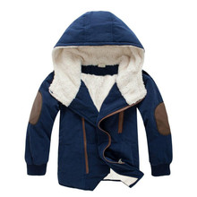 Boys jacket 2018 New style Children's clothing Children Lambs Cotton Thicken Plus velvet Hooded Long section Cotton clothing