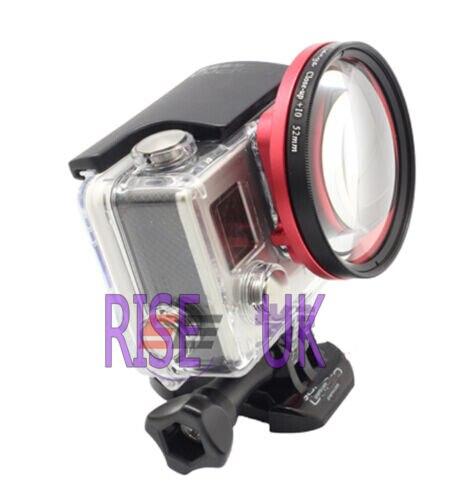 RISE (ROYAUME-UNI) 58mm close up lens macro + 10 et adaptateur anneau pour GoPro Hero 3 +