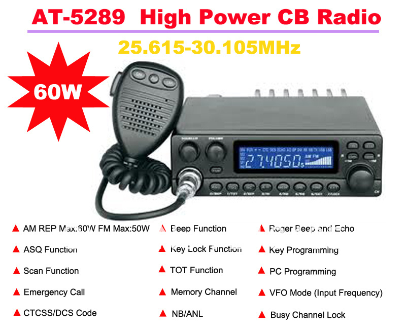 AnyTone AT-5289 25.615MHz-30.105MHz AM REP Max:60W  FM Max:50W High Power CB(Citizens Band) Radio Station Max 20KM Talking Range