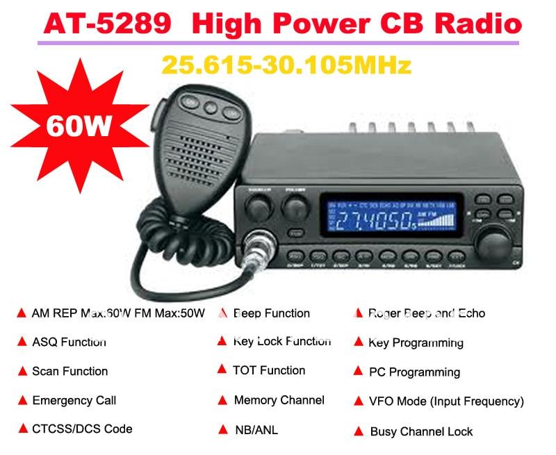 AnyTone AT-5289 25.615MHz-30.105MHz AM REP Max:60W  FM Max:50W High Power CB(Citizens Band) Radio Station Max 20KM Talking Range