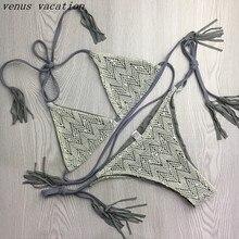 2017 Vintage Sexy Crochet Lace Fringe Biquini Micro String Halter Swimsuit Swim Wear Bathing Suit Swimwear Women Push Up Bikini