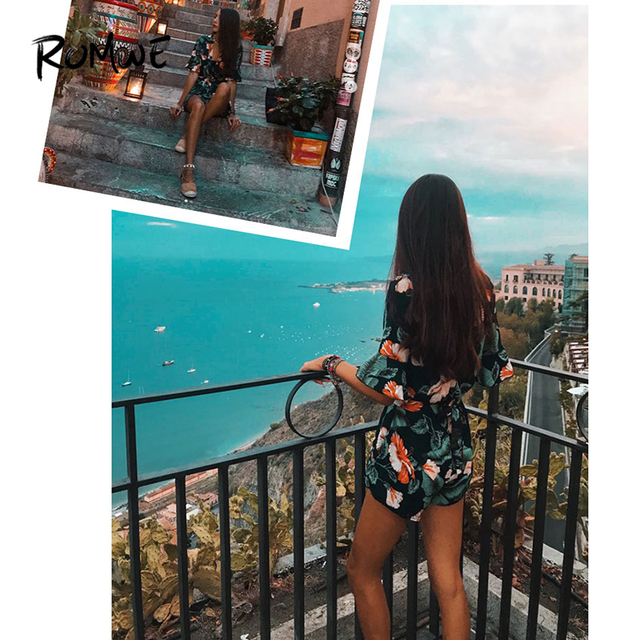 ROMWE Fluted Sleeve Floral Print Surplice Romper With Belt Women Summer Vocation Three Quarter Floral V neck Romper 5