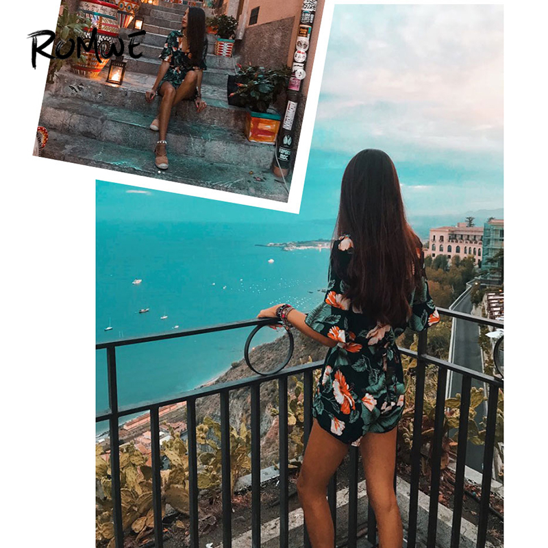 106662c4ae6f ROMWE Fluted Sleeve Floral Print Surplice Romper With Belt Women Summer  Vocation Three Quarter Floral V neck Romper-in Rompers from Women s Clothing  on ...