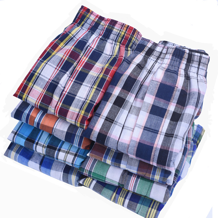 Boxer-Shorts Panties Men's Underwear Woven Loose Breathable Family Cotton 4pcs/Lot Man