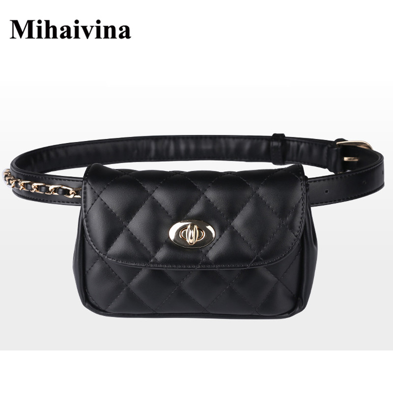 Mihaivina Fashion Leather Waist Bag Women Fanny Chest Bag Pack Femal Plaid Belt Bags Hip Money Travel Phone Pouch Bags-in Waist Packs from Luggage & Bags