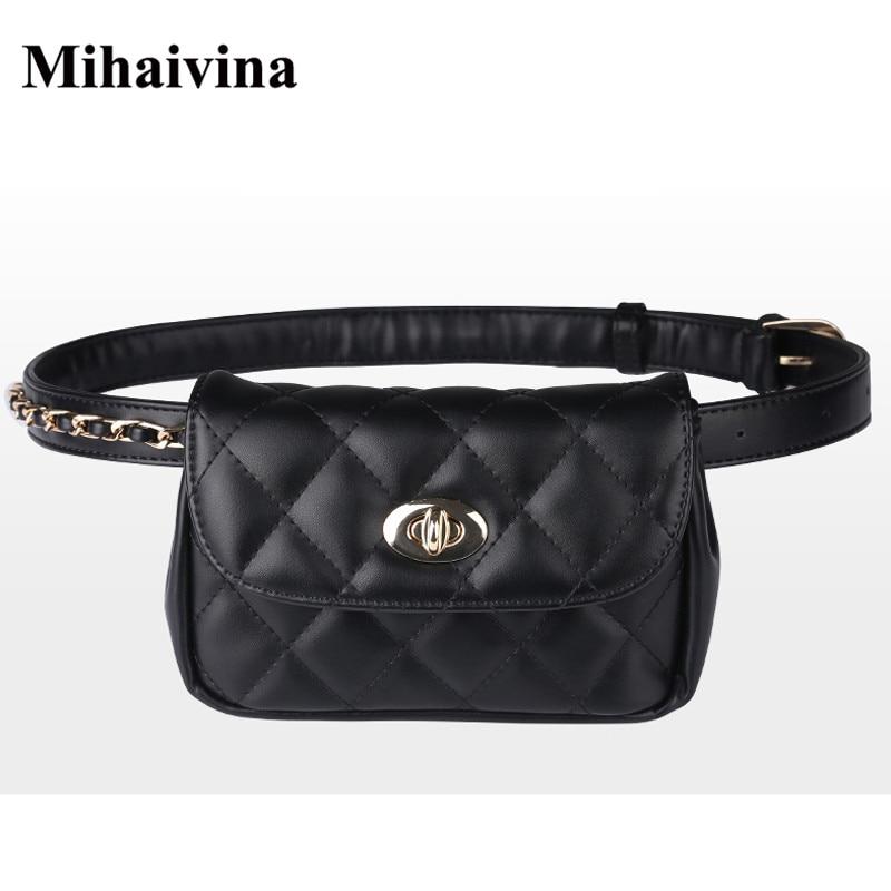 Mihaivina Fashion Leather Waist Bag Women Fanny Chest Bag Pack Femal Plaid Belt Bags Hip Money Travel Phone Pouch Bags