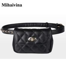 Mihaivina модная кожаная поясная сумка женская Фанни нагрудная сумка женская клетчатая поясная сумка Хип-деньги дорожная сумка для телефона сумки
