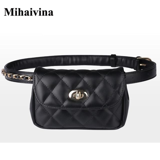 Mihaivina Fashion Leather Waist Bag Women Chest Pack Femal Plaid Belt Bags Hip Money