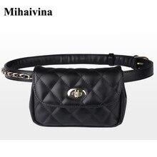 Модная Кожаная поясная сумка Mihaivina для женщин, забавная нагрудная Сумочка, Женский клетчатый поясной кошелек, дорожный мешочек для денег и телефона