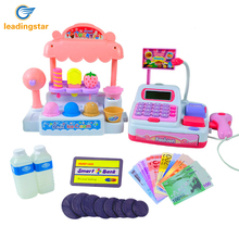 LeadingStar Children Pretend Play Toy Set Ice Cream Shop Cash Register with Realistic Actions and Sounds Gift for Kids Pink zk35