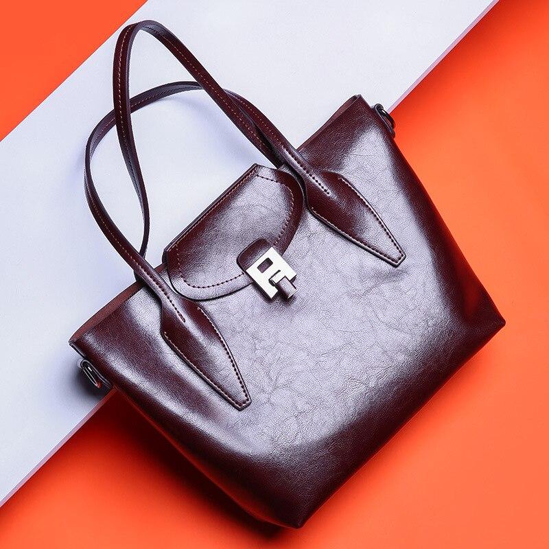 Hiver véritable de femmes en cuir sacs à main dames de mode sac en cuir véritable grand épaule sac femme bandoulière sacs pour femmes 2018