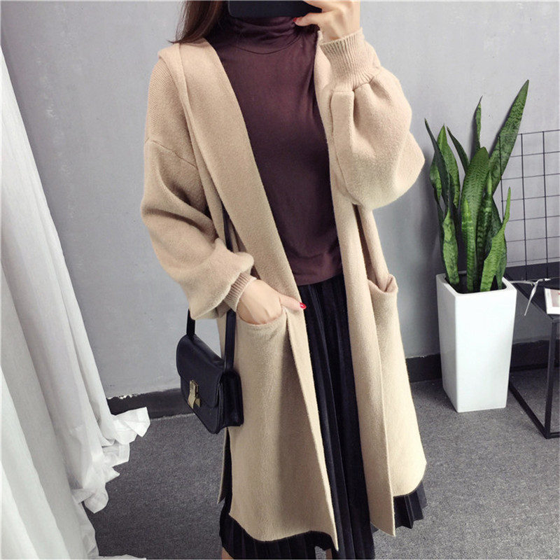 New Long Sweater Cardigan Women Casual Hooded Autumn Winter Long Sleeve Jacket Coat Knitted Cardigan Loose Sweater Cardigan Q450