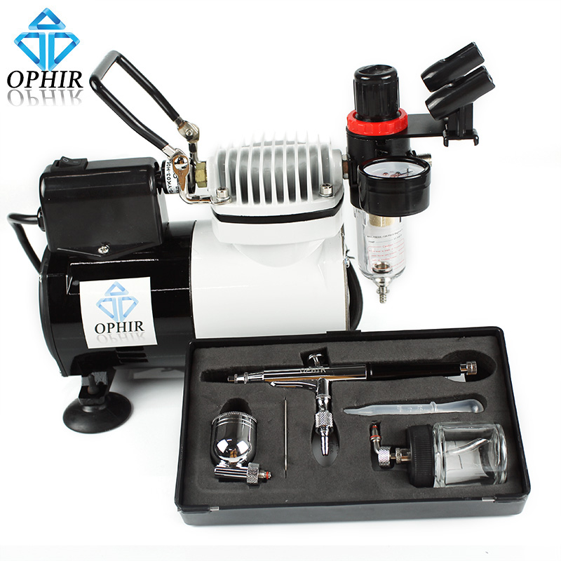 OPHIR Portable Pro Airbrush Kit with Air Compressor for Model Car Painting Cake Decorating_AC114+AC005