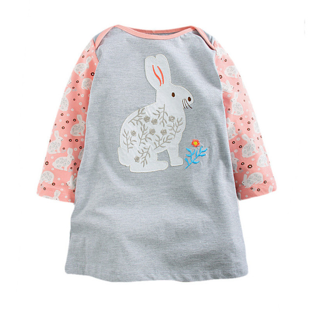 Little Maven Brand New Girls Autumn Spring Long-sleeved O-neck Fashion Rabbit Patchwork Cotton Cute Casual Dresses