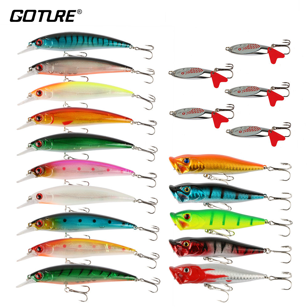Goture 20 Piece / set Fishing Lure Set 10pcs Wobblers + 5pcs Slide - თევზაობა - ფოტო 1