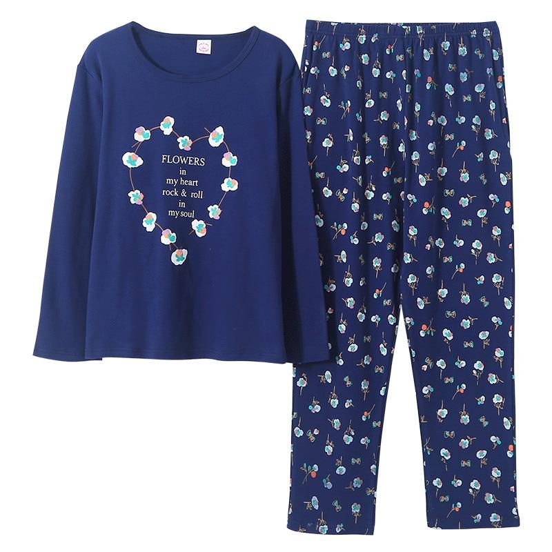 Newest Autumn Winter 100%Cotton Cartoon Women's Long Sleeve   Pajamas     Set   Round Neck Loose Soft Plus Size M-5XL Female Pyjamas
