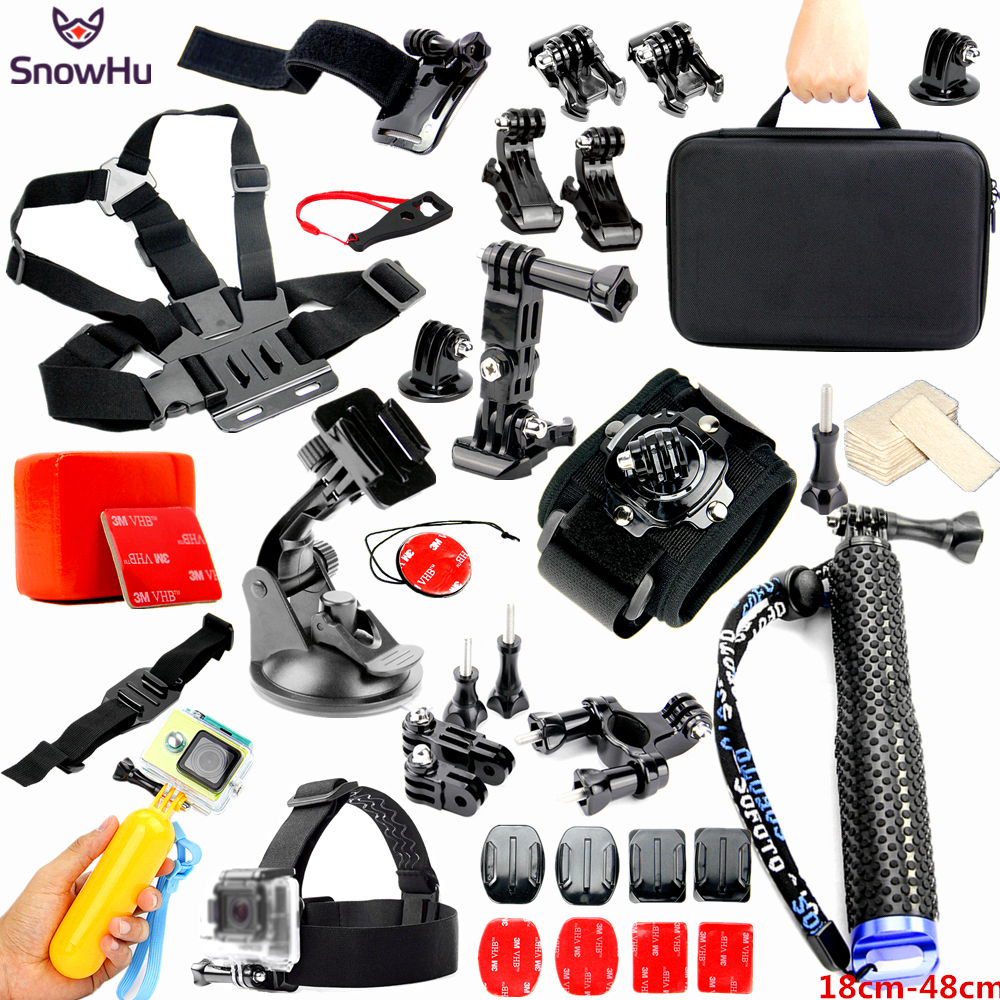 SnowHu For Gopro Accessories Set Helmet Harness Chest Mount Strap Monopod For Go pro Hero 7 6 5 4 3 For yi action camera GS25